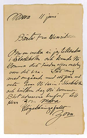 """Autograph letter signed (""""Zorn"""").: Zorn, Anders, Swedish"""