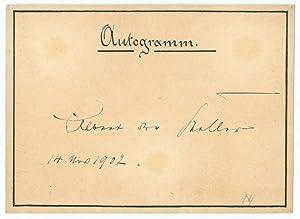 Albumblatt mit e. U.: Keller, Albert Ritter