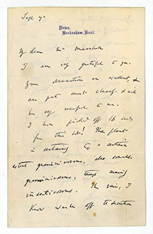 "Autograph letter signed (""Ch. Darwin"").: Darwin, Charles, English"