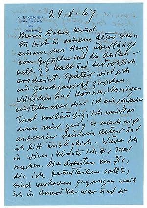 Eigenh. Brief mit U.: Kokoschka, Oskar, Maler,