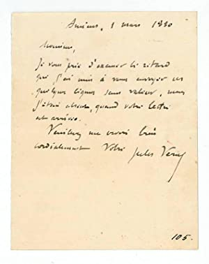 Autograph letter signed.: Verne, Jules, French