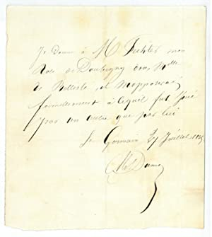 Autograph document signed.: Dumas, Alexandre (père),