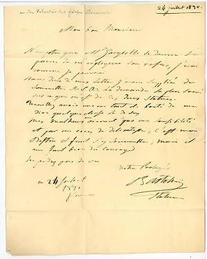 Eigenh. Brief mit U.: Bartolini, Lorenzo, Bildhauer