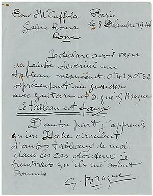 """Autograph letter signed (""""G. Braque"""".): Braque, Georges, painter"""