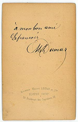 Signed and inscribed sepia cabinet photograph.: Dumas, Alexandre (père),