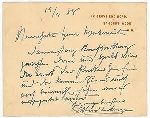 Autograph lettercard signed.: Alma-Tadema, Lawrence, Dutch-British