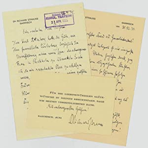 2 autograph letters signed.: Strauss, Richard, German