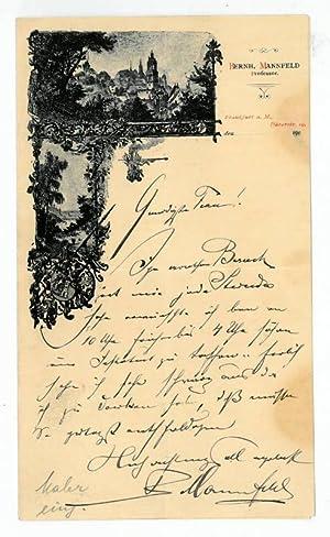 Eigenh. Brief mit U.: Mannfeld, Bernhard, Radierer