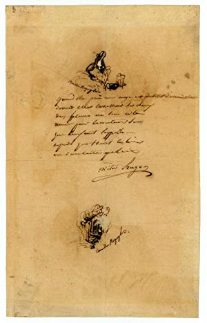 Autograph manuscript signed, with two autogr. sketches.: Hugo, Victor, French