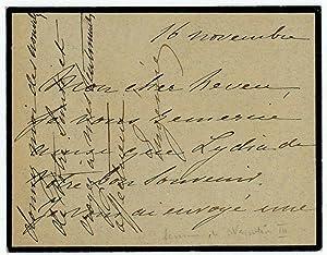 """Autograph lettercard signed (""""Eugénie"""").: Eugénie, last Empress"""