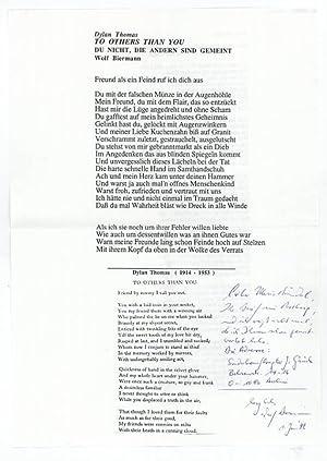 Blatt mit gedr. Gedicht und eigenh. Notiz: Biermann, Wolf, Liedermacher