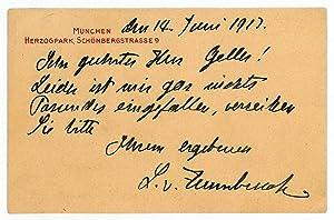 Eigenh. Postkarte mit U.: Zumbusch, Ludwig Ritter