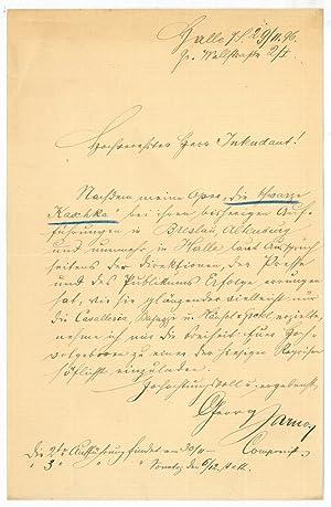 Eigenh. Brief mit U.: Jarno, Georg, Komponist