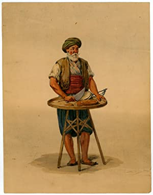 Turkish merchant. Pencil and watercolour on brownish paper.