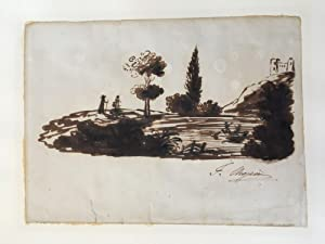 """Sepia wash brush painting, signed (""""F. Chopin"""").: Chopin, Frédéric, composer"""