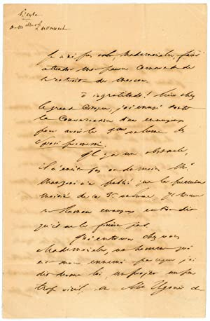 """Autograph letter signed (""""H. Beyle"""").: Stendhal (i. e."""