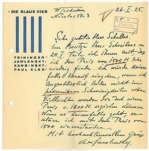 Autograph letter signed.: Jawlensky, Alexej von,