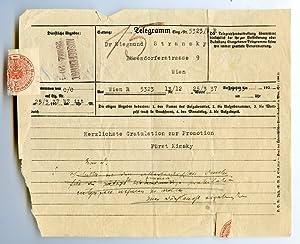 Ms. Telegramm.: Kinsky, Ulrich Ferdinand
