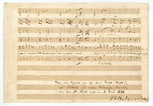 Autograph musical manuscript. Fragment of the insertion: Haydn, Joseph, composer