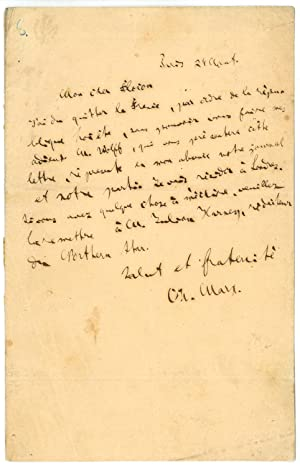 "Autograph letter signed (""Ch. Marx"").: Marx, Karl, philosopher"