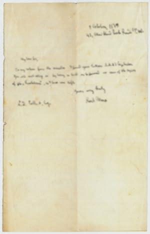 "Autograph letter signed (""Karl Marx"").: Marx, Karl, philosopher"