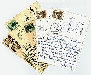 5 eigenh. Bildpostkarten mit U.: Strutz, Herbert, Schriftsteller (1902-1973).