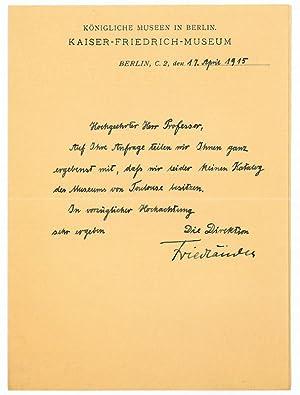 Brief mit eigenh. U.: Friedländer, Max Jacob,