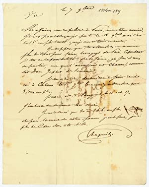 "Autograph letter signed (""Chapuis"").: Stendhal (i. e."