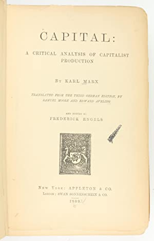 Capital A Critical Analysis Of Capitalist Production Marx Karl
