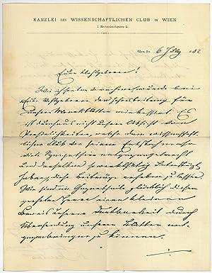 Eigenh. Brief mit U.: Karrer, Felix, Geologe