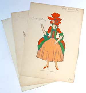 3 autograph costume designs for an unidentified revue or operetta production.