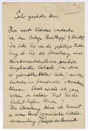 Autograph letter signed.: Bártok, Béla, Hungarian