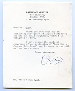"Typed letter signed (""LOlivier"") and playbill signed.: Olivier, Sir Laurence,"