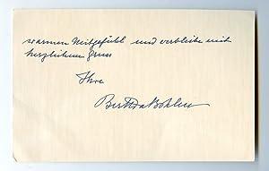"""Autograph lettercard signed (""""BerthavBohlen"""").: Krupp von Bohlen"""