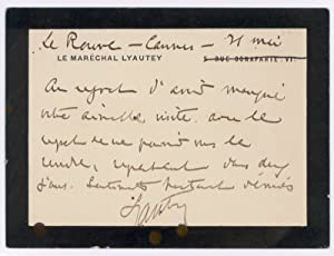 "Autograph lettercard signed (""Lyautey"").: Lyautey, Hubert, Marshal"