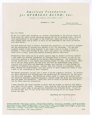 Typed letter signed.: Keller, Helen, American