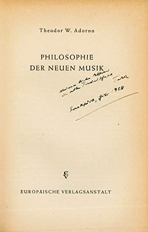 Autograph dedication signed in: Philosophie der Neuen Musik.