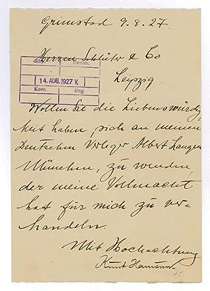 Letter signed.: Hamsun, Knut, Norwegian author and Nobel laureate (1859-1952).