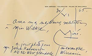 Autograph Note Signed.: Miró, Joan, Spanish-Catalan