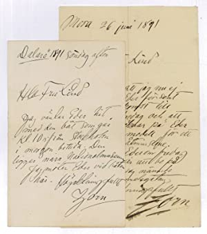 """2 autograph letters signed (""""Zorn"""").: Zorn, Anders, Swedish"""