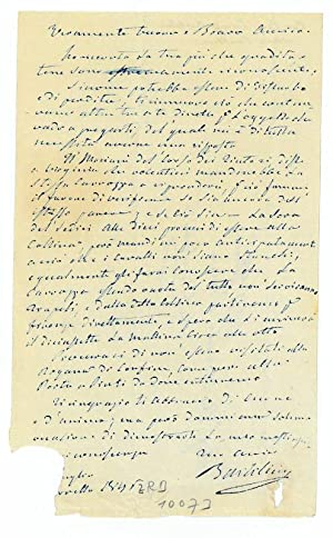 Eigenh. Brief m. U.: Bartolini, Lorenzo, Bildhauer