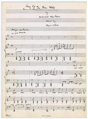Autograph musical manuscript signed.: Weill, Kurt, German
