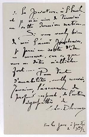 Lettre autographe signée.: Lévy-Dhurmer, Lucien, peintre,