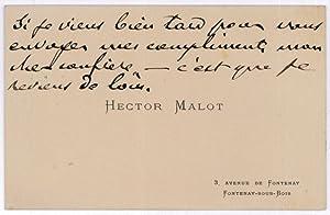 CDV autographe.: Malot, Hector, romancier