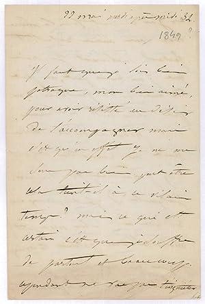 """Lettre autographe signée (""""Juliette"""").: Drouet, Juliette, actrice"""