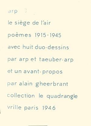 Le Siège de l'Air. Poèmes 1915-1945.: ARP (Hans) :