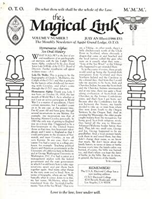 The Magickal Link. Official Monthly Bulletin of Ordo Templi Orientis. Vol. I., Number 1. (January...