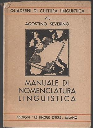 MANUALE DI NOMENCLATURA LINGUISTICA: Severino, Agostino