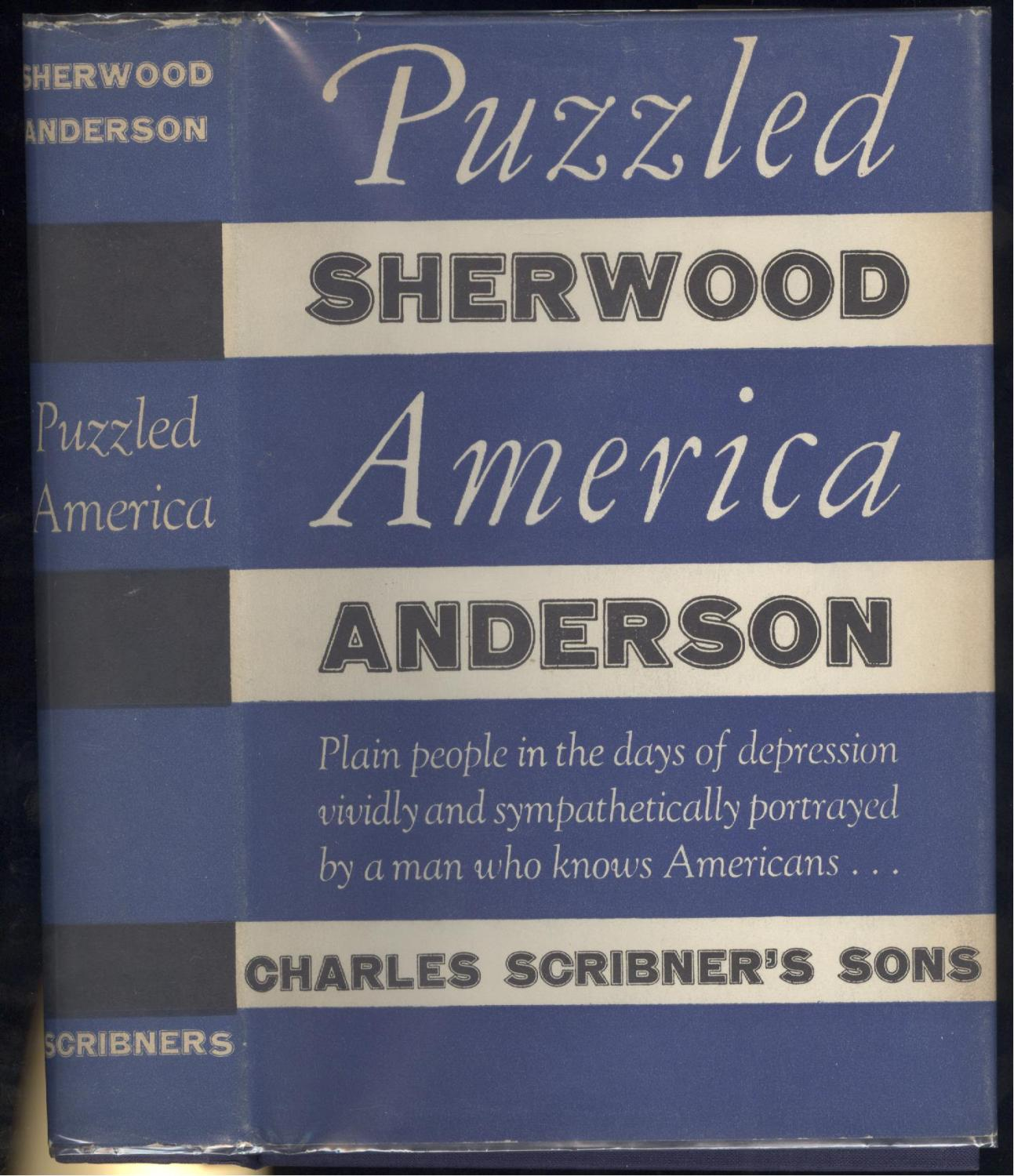 Puzzled America Sherwood Anderson Fine Hardcover