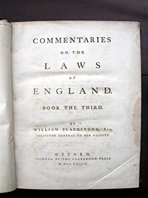 Commentaries on the Laws of England. Four Volume Quarto Set 1766 - 1769.: Blackstone, William.